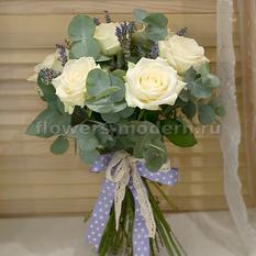 Букет невесты С084 с розами и лавандой