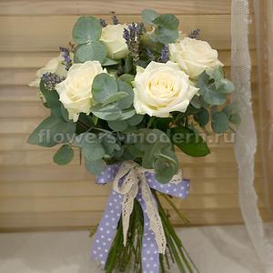 Букет С084 с розами и лавандой